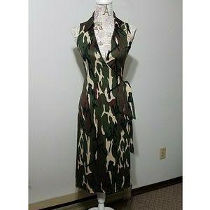 Diane von furstenberg camo wrap sleeveless dress
